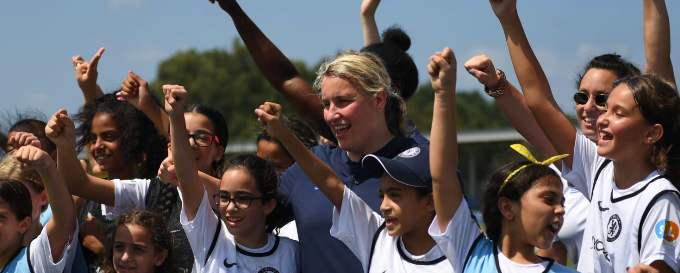 Emma Hayes and Two Chelsea Women Players Make a Surprise Visit to Girls Football Session in Tel Aviv